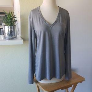 Fila Gray V-Neck Long Sleeve Shirt